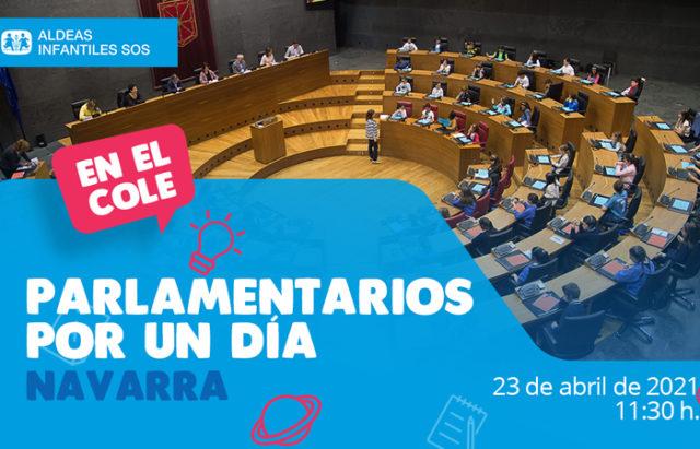 Cartel del Pleno organizado por Aldeas Infantiles y Parlamento de Navarra