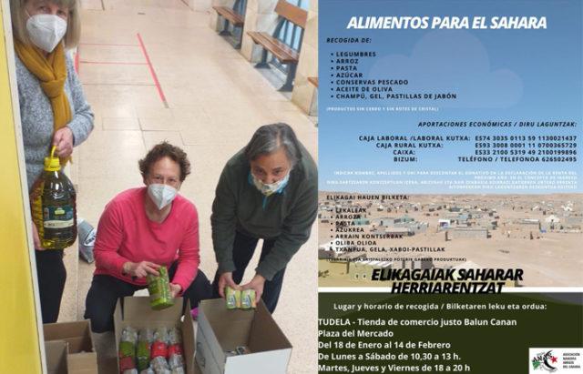 Voluntarias de la tienda de Comercio Justo de Tudela, recogiendo alimentos para enviar a los saharauis