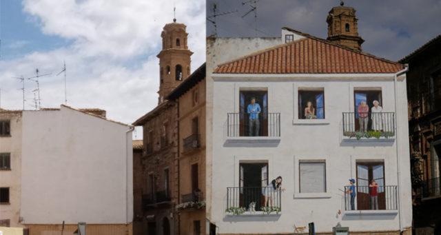 Aspecto de la pared pintada en la Plaza de España de Corella antes y después de la intervención artística