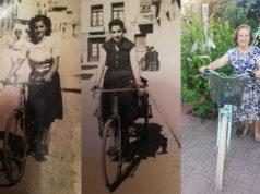 María Sanz, con su bicicleta, en tres momentos de su vida