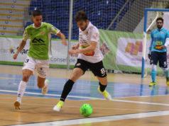Un momento del partido entre el Palma Futsal y el Aspil Jumpers Ribera Navarra