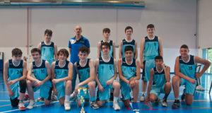 El equipo Cadete Masculino del Arenas de Baloncesto con su copa de Campeones de Navarra