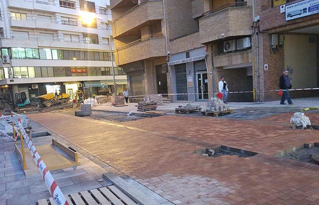 Tramo en obras de la calle Sarasate