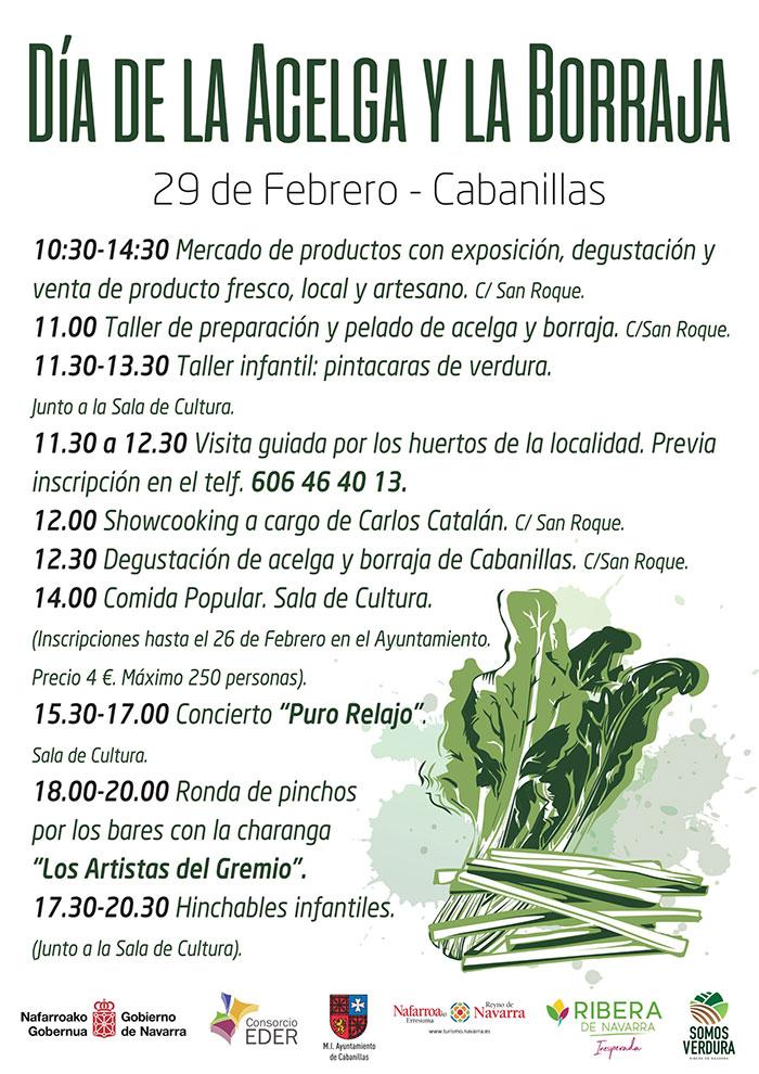 Cartel con la programación del día de la acelga y la borraja de Cabanillas 2020