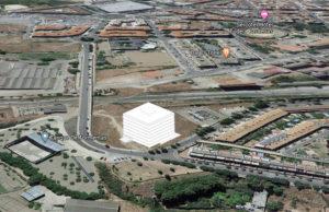 Recreación del edificio en la ubicación en la que se construirá en el Barrio de la Azucarera de Tudela